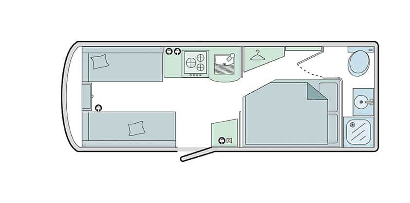 530/4 - 4 Berth, Side Fixed Bed, End Washroom