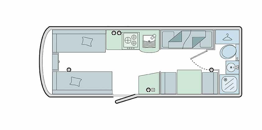 560/5 - 5 berth, fixed bunks, end bathroom, side dinette