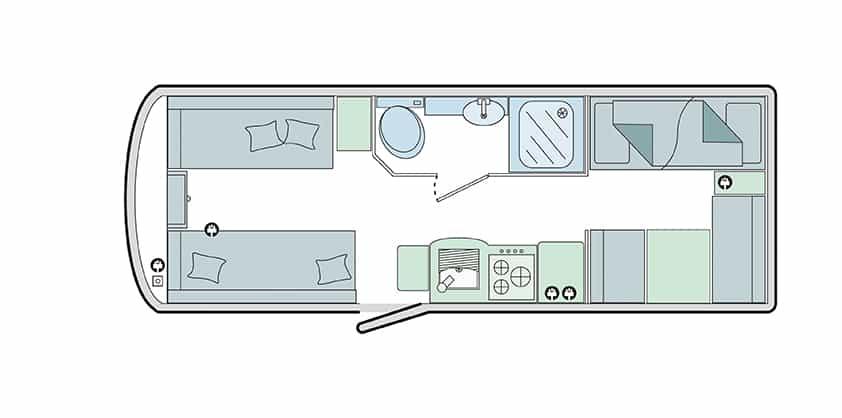 570/6 - 6 berth, fixed bunks, side bathroom, end dinette