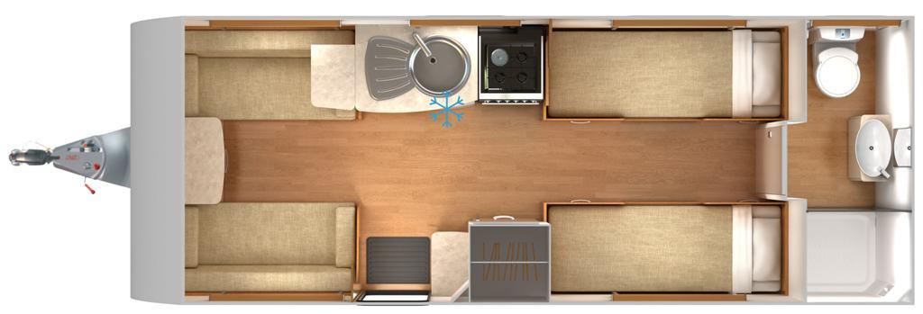 Lexon 570 - 4 Berth, Two Single Beds, End Bathroom