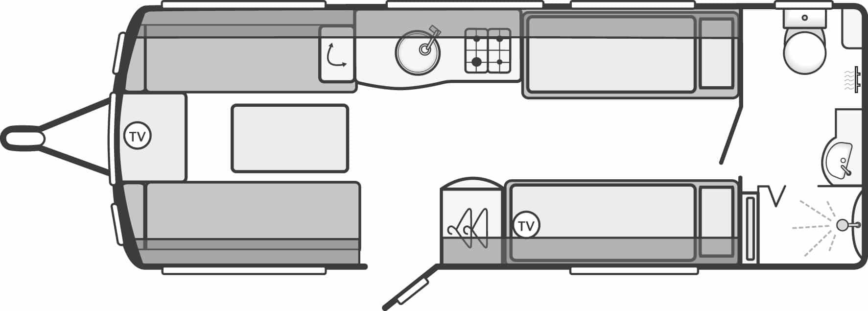 Elegance 565 - 4 Berth, Two Single Beds, End Washroom