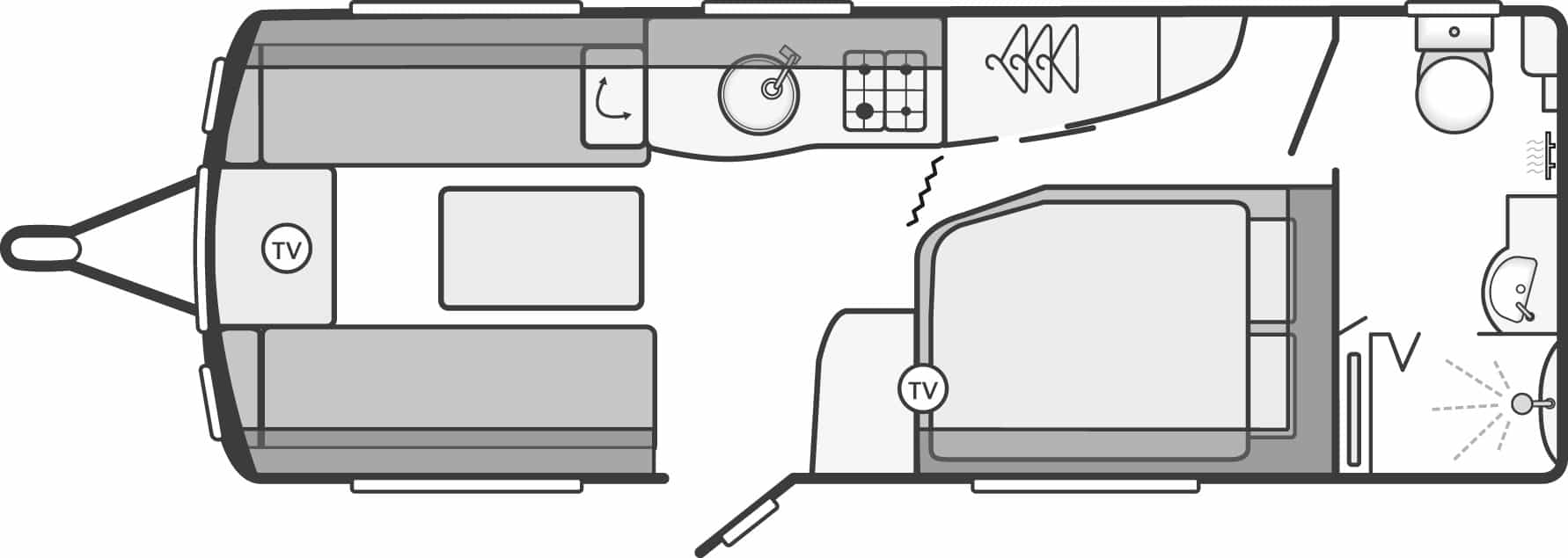 Elegance 570 - 4 Berth, Side Fixed Bed, End Washroom