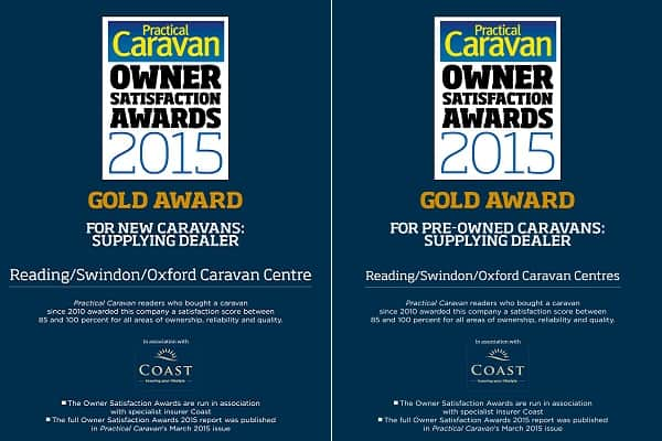 Gold Awards at the Practical Caravans Owner Satisfaction Survey for New and Pre-Owned Caravans