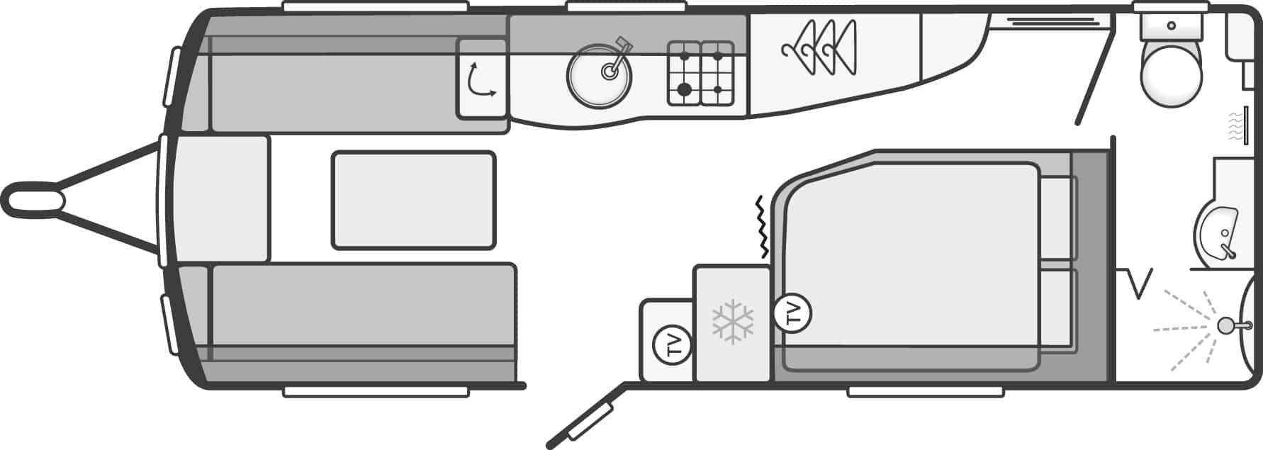 Conqueror 570 - 4 Berth, Side Fixed Bed, End Washroom