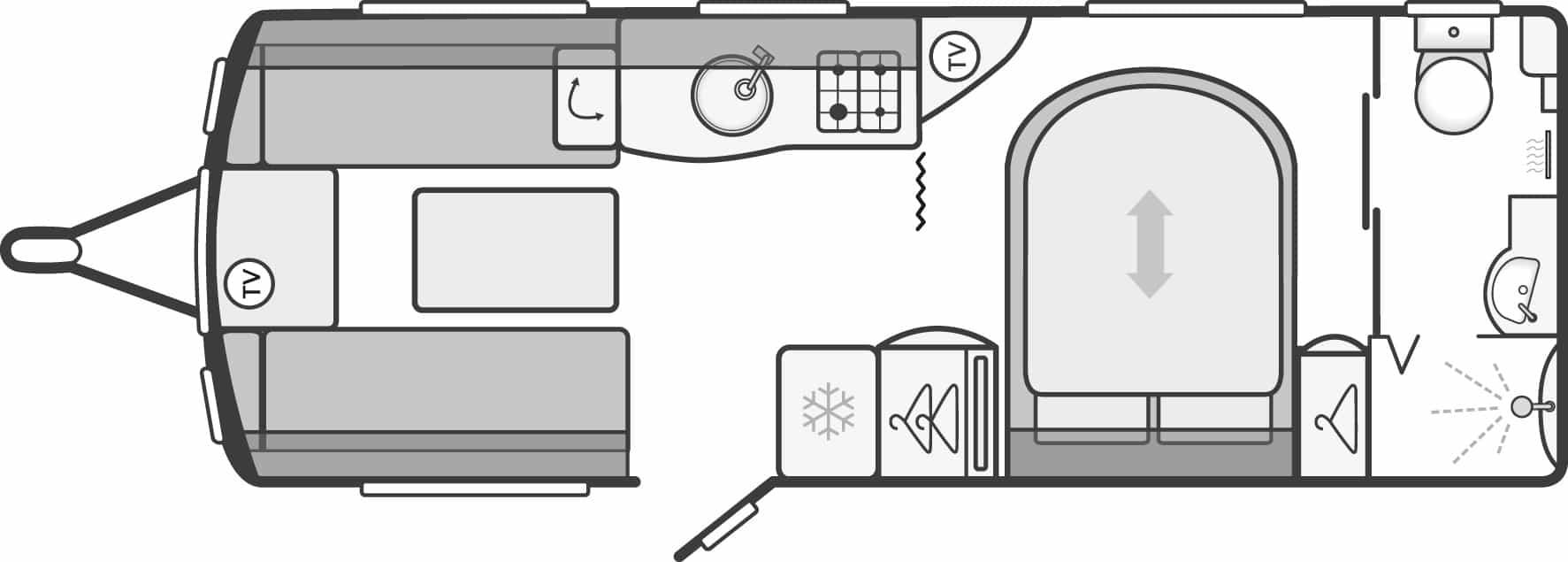 Conqueror 580 - 4 Berth, Transverse Fixed Bed, End Washroom