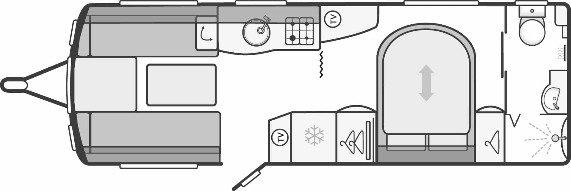 Conqueror 645 - 4 Berth, Twin Axle, Transverse Fixed Bed, End Washroom