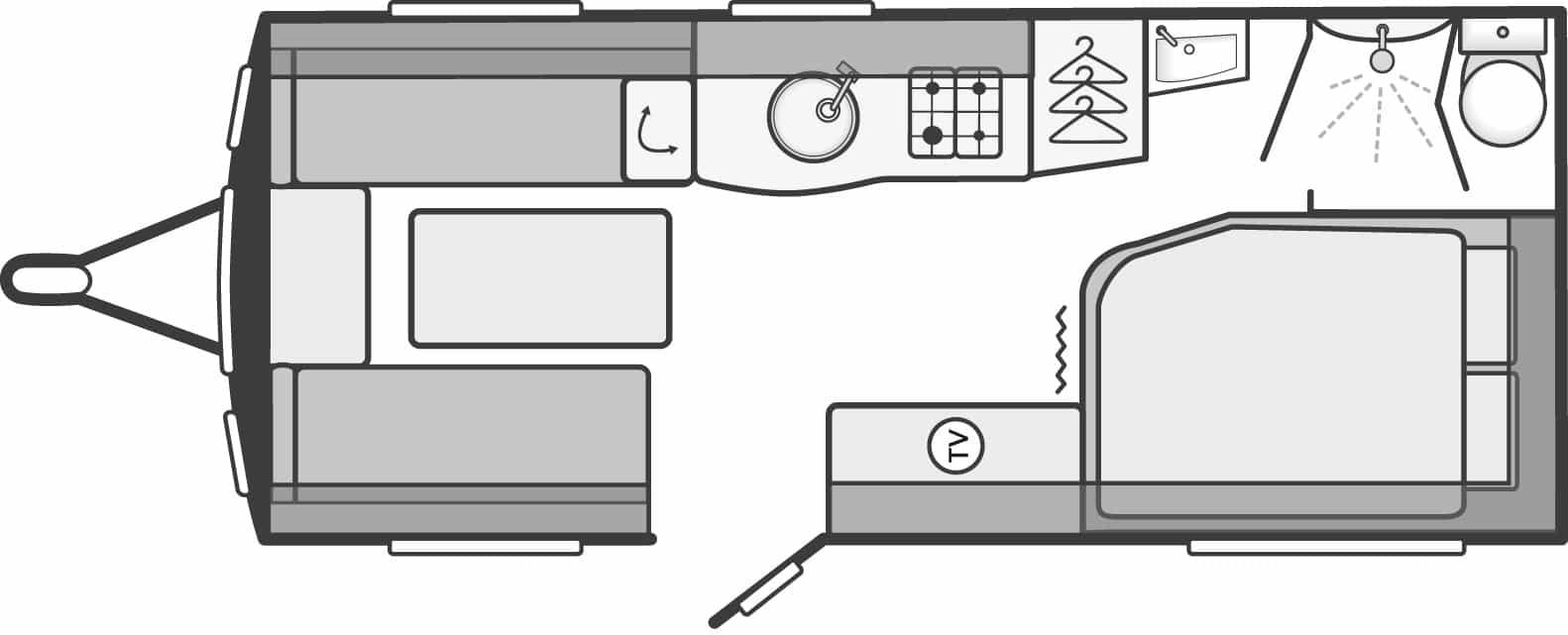 Sterling Eccles 510 - 4 Berth, Side Fixed Bed, Corner Washroom