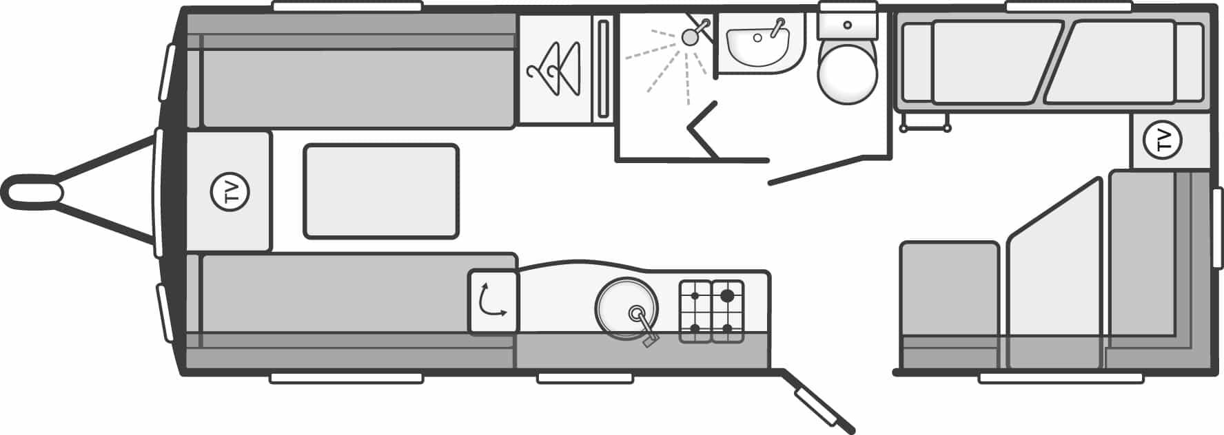 Sterling Eccles 590 - 6 Berth, Fixed Bunk Beds, End Dinette, Side Washroom