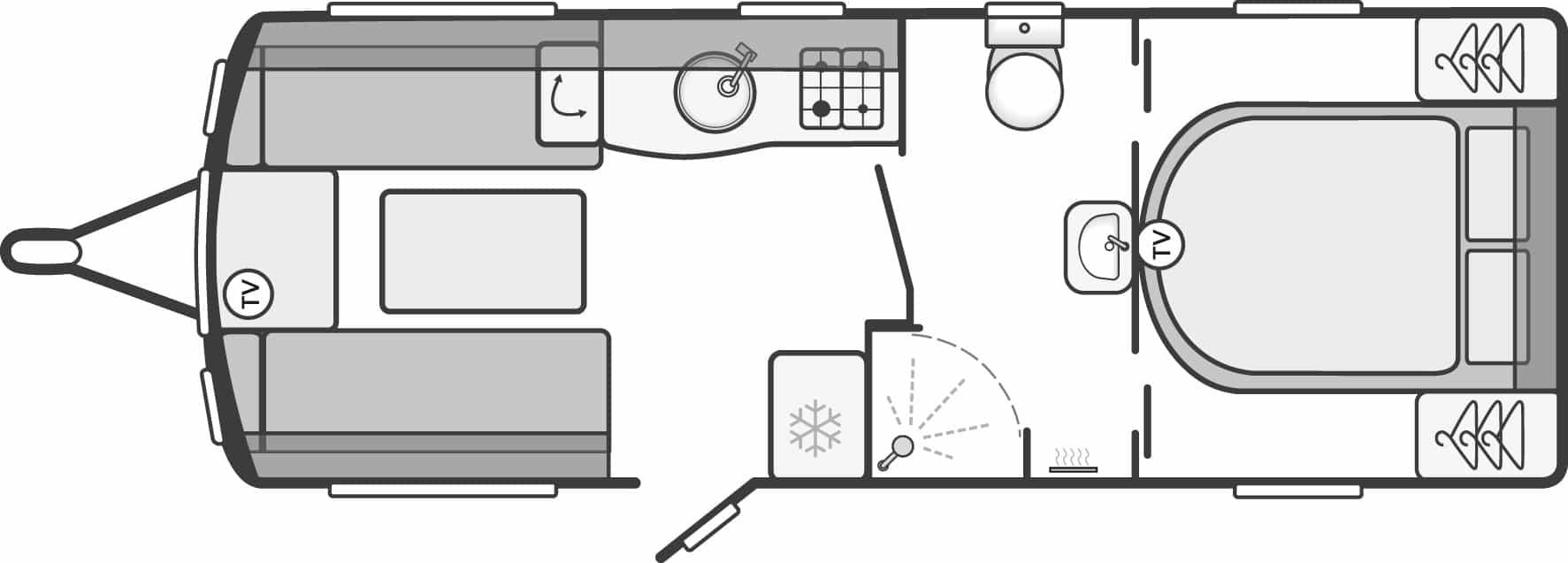 Sterling Elite 560 - 4 Berth, Island Fixed Bed, Centre Washroom, End Bedroom