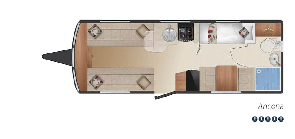 Ancona - 5 Berth, Fixed Bunks, End Washroom, Side Dinette