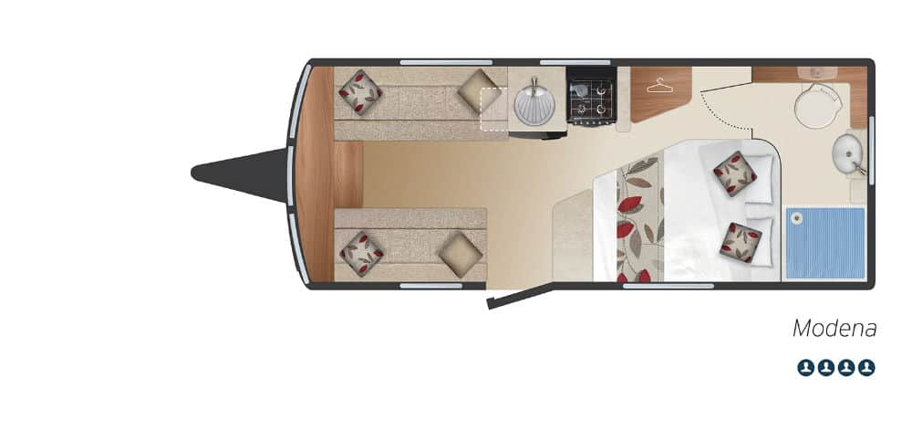 Modena - 4 Berth, Side Fixed Bed, End Washroom