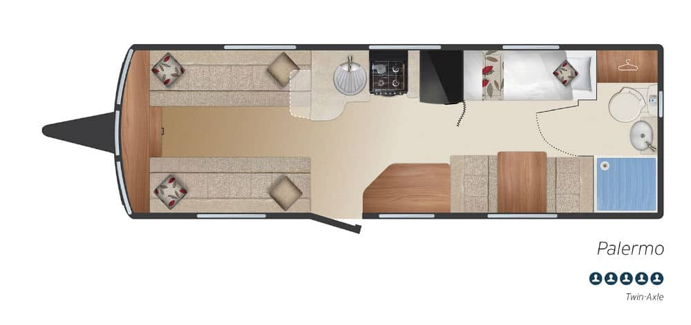 Palermo - 5 Berth, Twin Axle, Fixed Bunks, End Washroom, Side Dinette