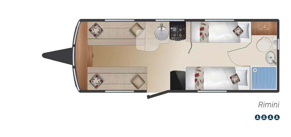 Rimini - 4 Berth, Two Single Beds, End Washroom
