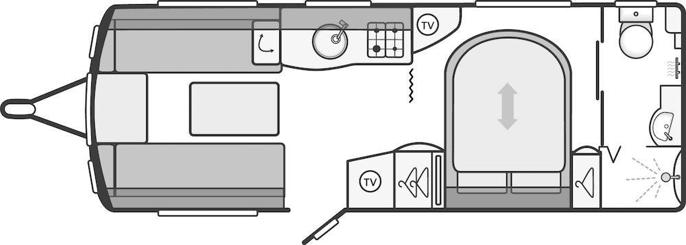 Continental 580 - 4 Berth, Transverse Bed, End Washroom