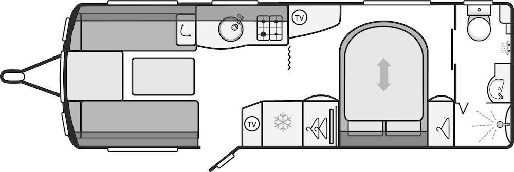 Continental 645 - 4 Berth, Twin Axle, Transverse Bed, End Washroom