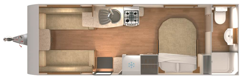 Delta TI - 4 Berth, Twin Axle, Transverse Fixed Bed, End Bathroom
