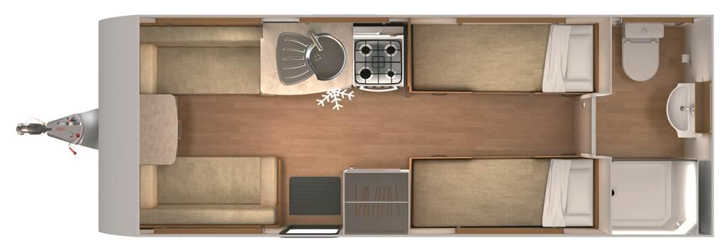 Quasar 554 - 4 Berth, Two Single Beds, End Washroom