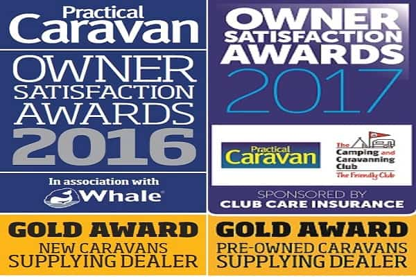 Winners for best supplying dealer in the UK of used caravans in 2017 & new caravans in 2016.