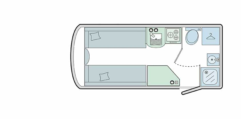 400/2 - 2 Berth, End Washroom