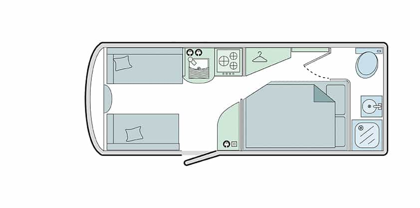 430/4 - 4 Berth, Side Fixed Bed, End Washroom