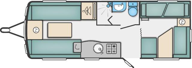 Challenger 590 - 6 Berth, Fixed Bunks, End Dinette, Side Washroom