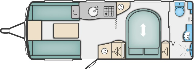 Elegance 580 - 4 Berth, Transverse Fixed Bed, End Washroom