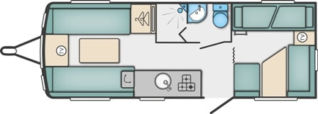 Major 6 TD - 6 Berth, Fixed Bunks, Corner Dinette, Side Washroom