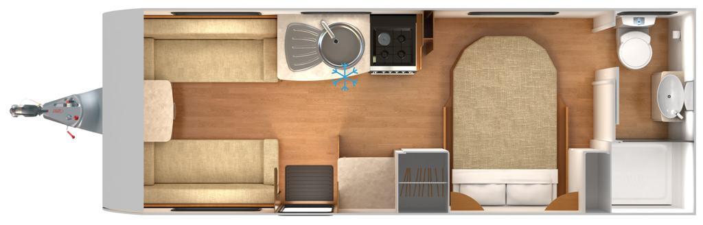 Quasar 574 - 4 berth, Transverse Island Bed, End Bathroom