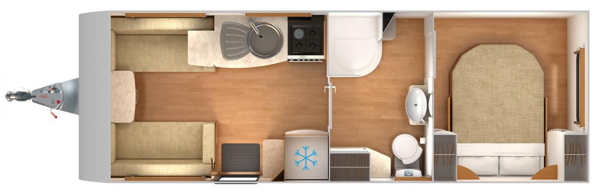 Delta RI - 4 Berth, Twin Axle, Transverse Fixed Bed, Centre Bathroom