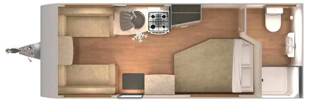 Quasar 544 - 4 Berth, Fixed Bed, End Washroom