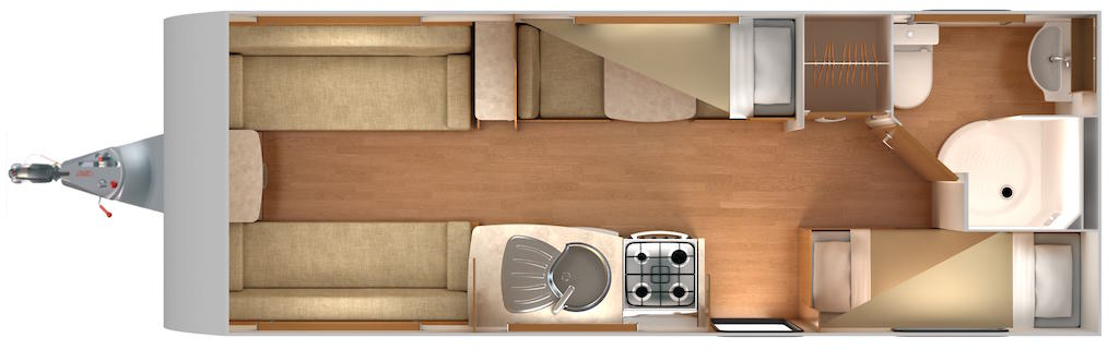 Quasar 586 - 6 Berth, Fixed Bunks, Side Dinette
