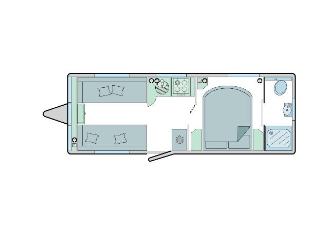 Brindisi - 4 Berth, Transverse Fixed Bed, End Bathroom