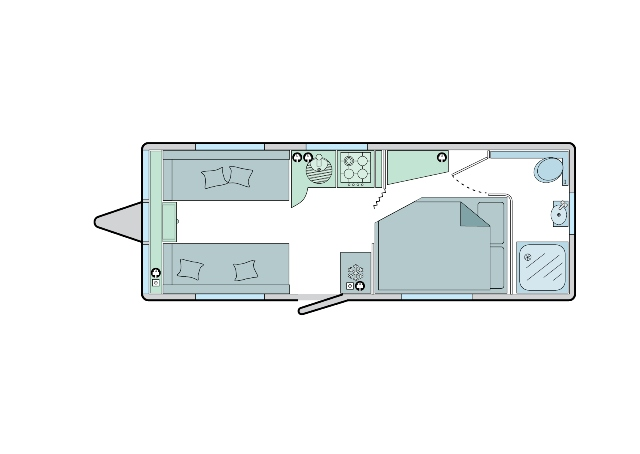 Verona - 4 Berth, Side Fixed Bed, End Washroom