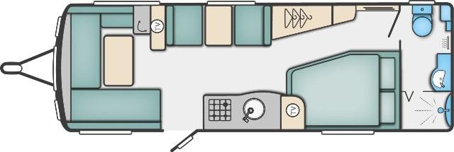 Conqueror 630 - 6 Berth, Twin Axle, Side Fixed Bed, End Bathroom