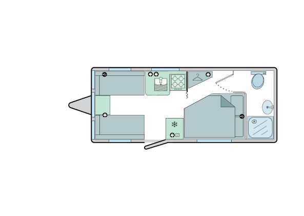 440 - 4 Berth, Side Fixed Bed, End Washroom