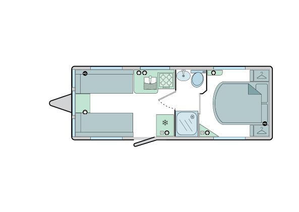 640 - 4 Berth, End Bedroom, Fixed Bed, Centre Washroom