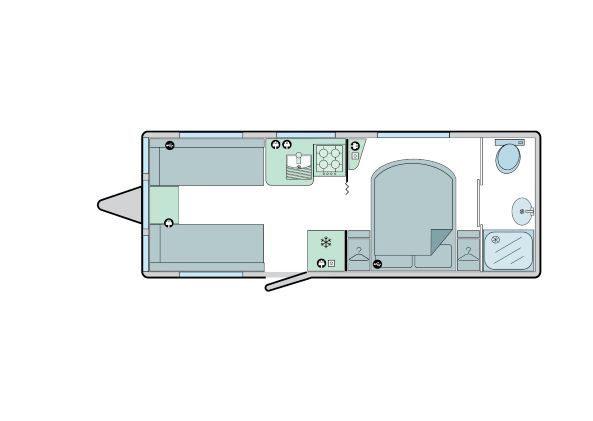644 - 4 berth, transverse fixed bed, end bathroom