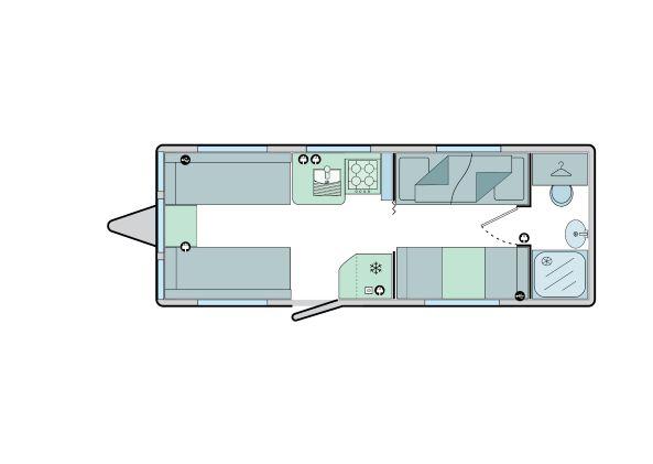 650 - 5 berth, fixed bunks, side dinette, end washroom