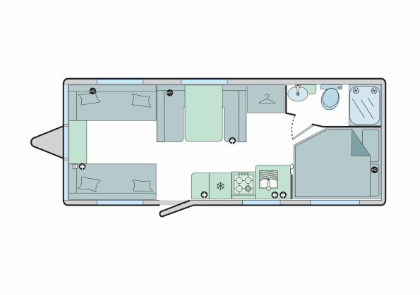 Turin - 6 Berth, Twin Axle, Fixed Bed, Corner Washroom, Side Dinette