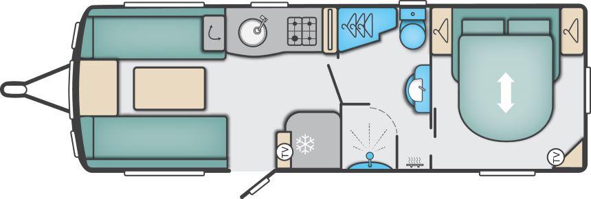 Elegance 635 - Twin Axle, Transverse Fixed End Bedroom, Centre Washroom
