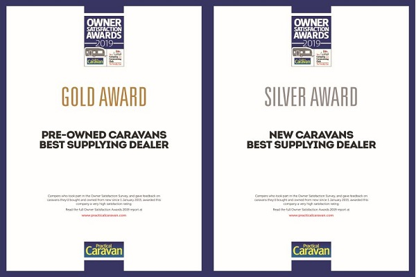 2019 Gold & Silver awards for best supplying dealer of pre-owned & new caravans respectively in the UK