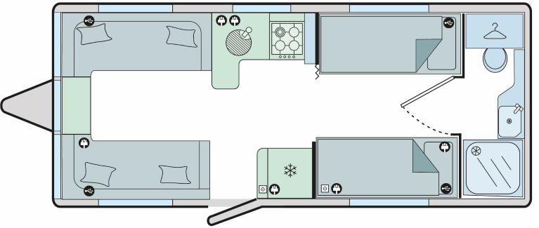 Estoril - 4 Berth, 2 Single Beds, End Washroom
