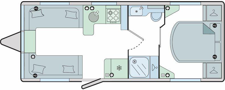 Porto - 4 Berth, Twin Axle, End Fixed Bed, Central Washroom