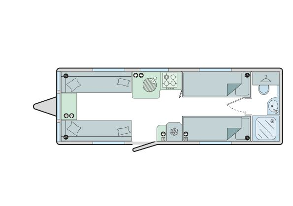 Cadiz - 4 Berth, Two Single Beds, End Washroom