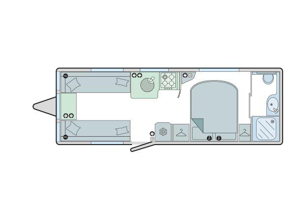 Vigo - 4 Berth, Transverse Fixed Bed, End Washroom