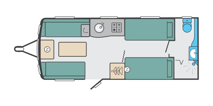 Challenger X 865 - 4 Berth, Single Fixed Bed, End Washroom