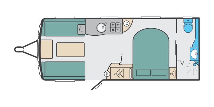 Challenger X 880 - 4 Berth, Transverse Fixed Bed, End Washroom