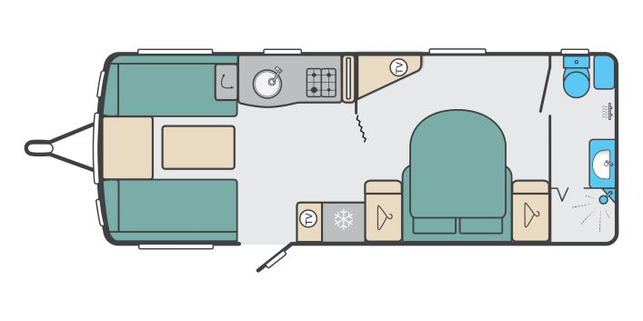 Elegance Grande 845 - 4 Berth, Twin Axle, Transverse Fixed Bed, End Washroom