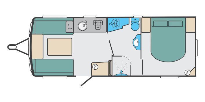 Quattro EB - 4 berth, end fixed transverse bed, centre washroom
