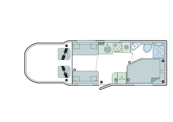 Autograph 74-2: 4 Berth, Front Dinette, Fixed Bed, Corner Washroom
